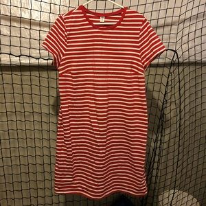 Old Navy red & white striped shirt dress